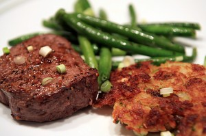 St. Valentine's Filet and Cupid's Crabby Hash Browns