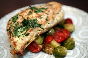 Parsley Roasted Chicken w/ Roasted Brussel Sprouts and Tomatoes