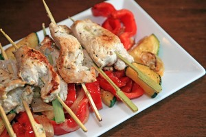 Greek Pork Skewers with Roasted Veggies