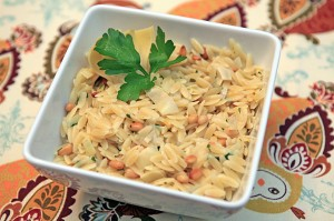 Lemon Artichoke Orzo with Pine Nuts