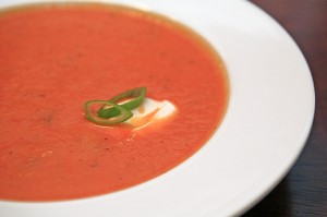 Roasted Roma Tomato and Red Pepper Soup