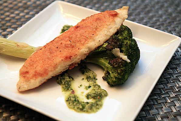 Golden Tilapia with a Cilantro Chimichurri Sauce