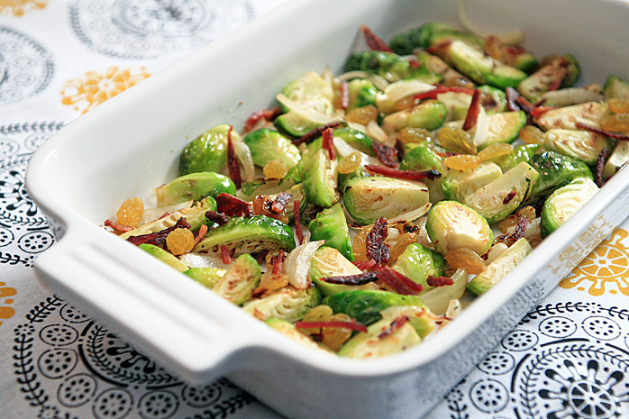 Roasted Baby Cabbage with Bacon and Raisins