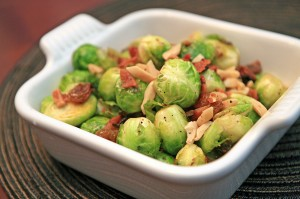 Sprouts and Bacon with Almonds