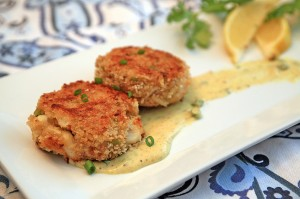 Crab Cakes with a Spicy Mustard Sauce
